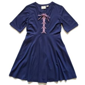 Maeve by Anthropologie Lace Up Navy Purple Dress S